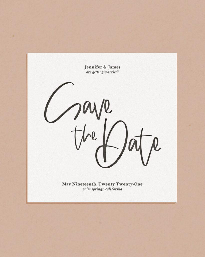 Modern Letterpress & Foil Wedding Save The Date Card