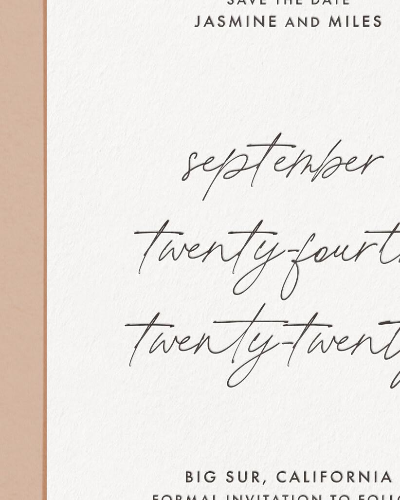 Delicate Letterpress & Foil Wedding Save The Date Card Detail