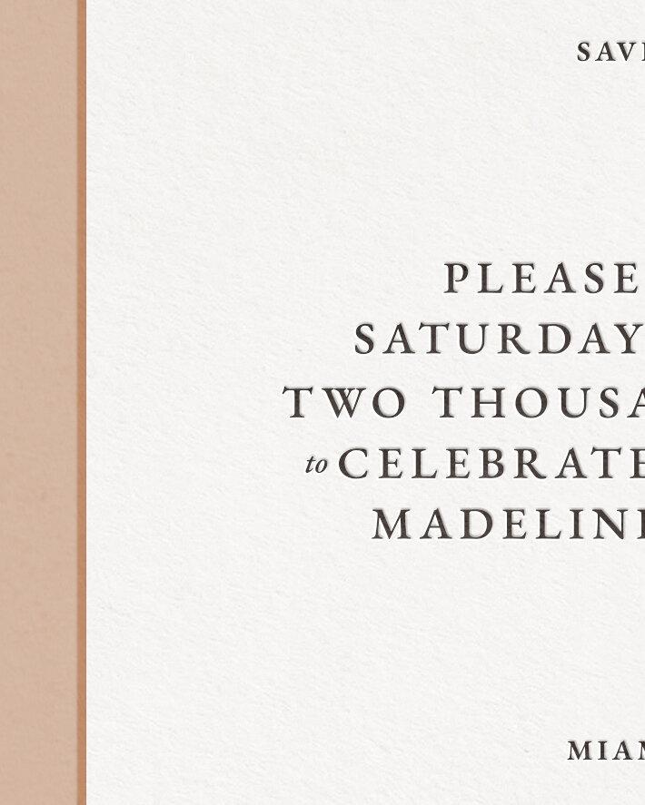 Classic Letterpress & Foil Wedding Save The Date Card Detail