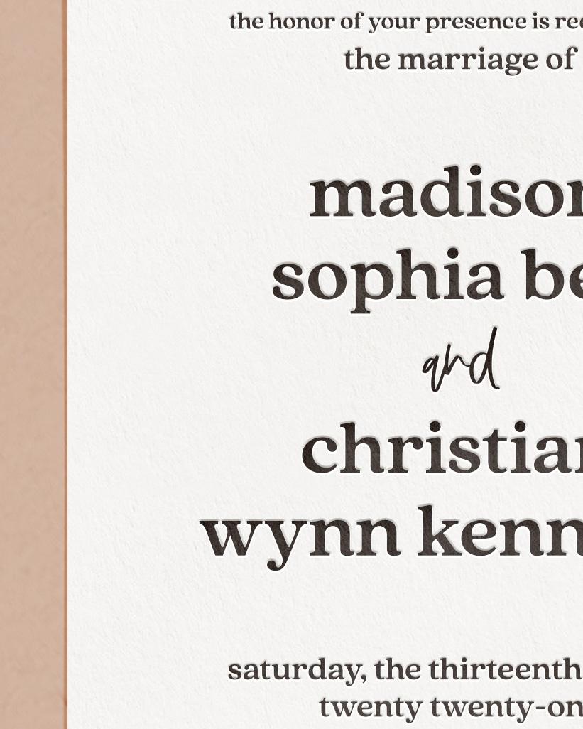 Elegant Letterpress & Foil Wedding Invite Card Detail