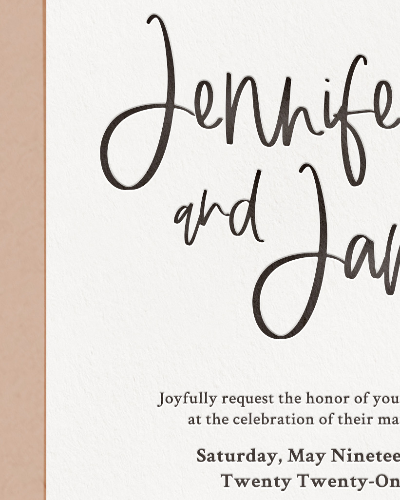 Modern Letterpress & Foil Wedding Invitation Card Detail
