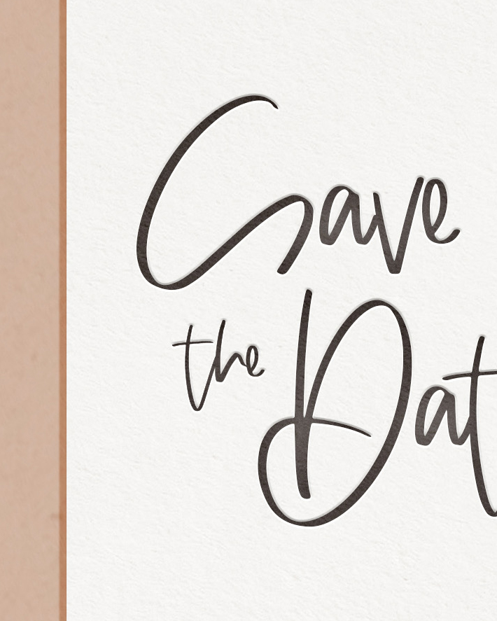 Modern Letterpress & Foil Wedding Save The Date Card Detail