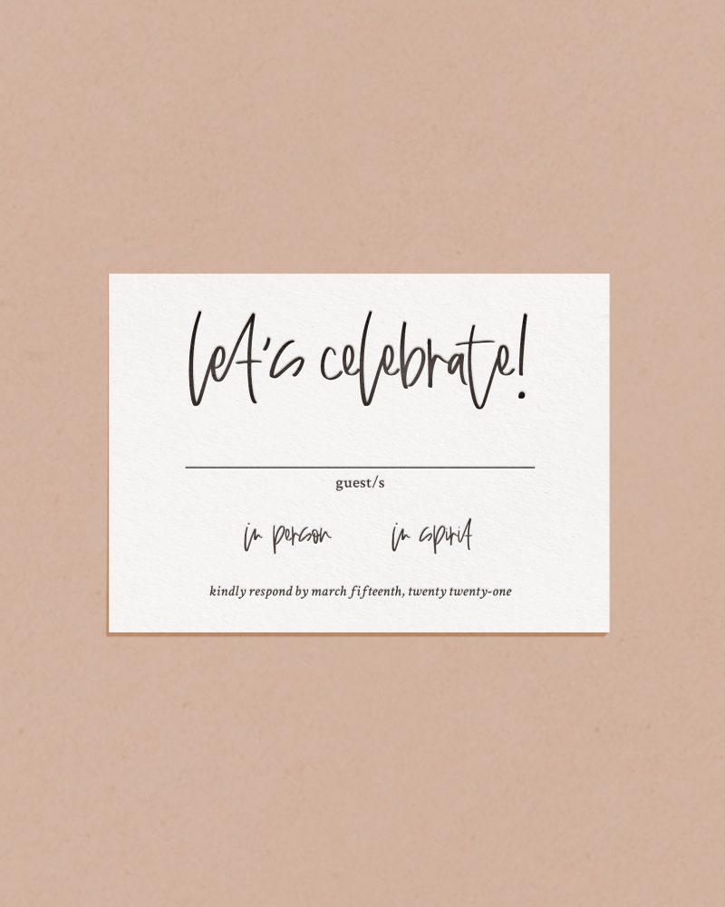 Modern Letterpress & Foil Wedding Reply RSVP Card