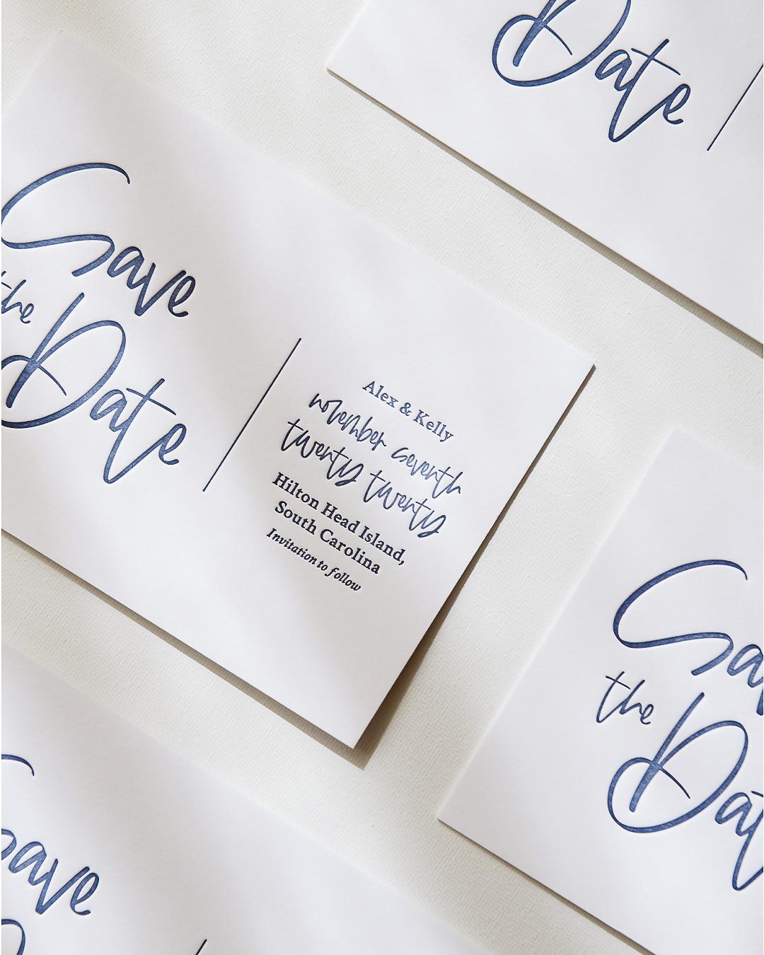 Modern & Minimal Letterpress Wedding Save The Date Card