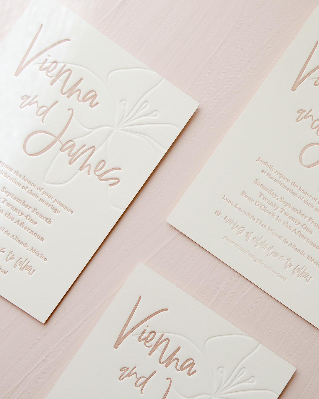 Modern & Minimal Letterpress Wedding Invite with Blind Emboss Flower