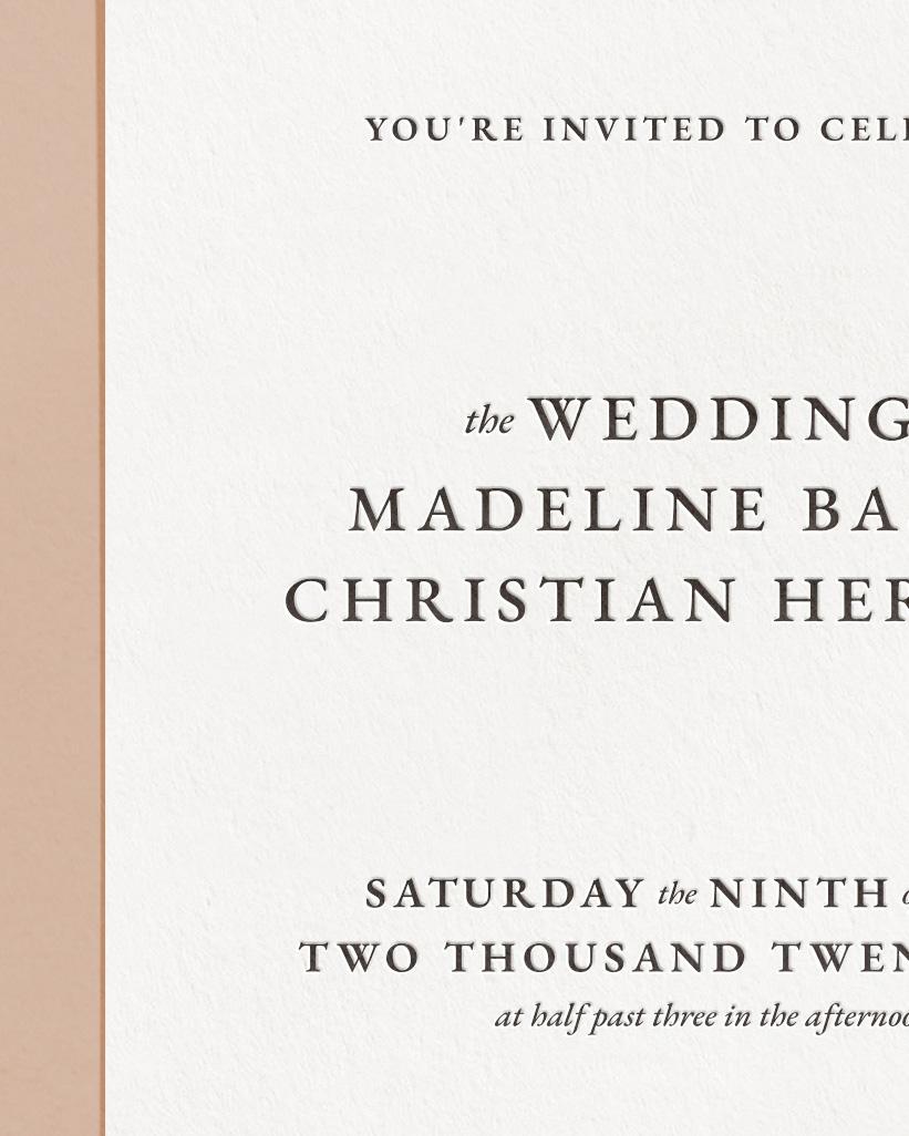 Classic Letterpress & Foil Wedding Invite Card Detail