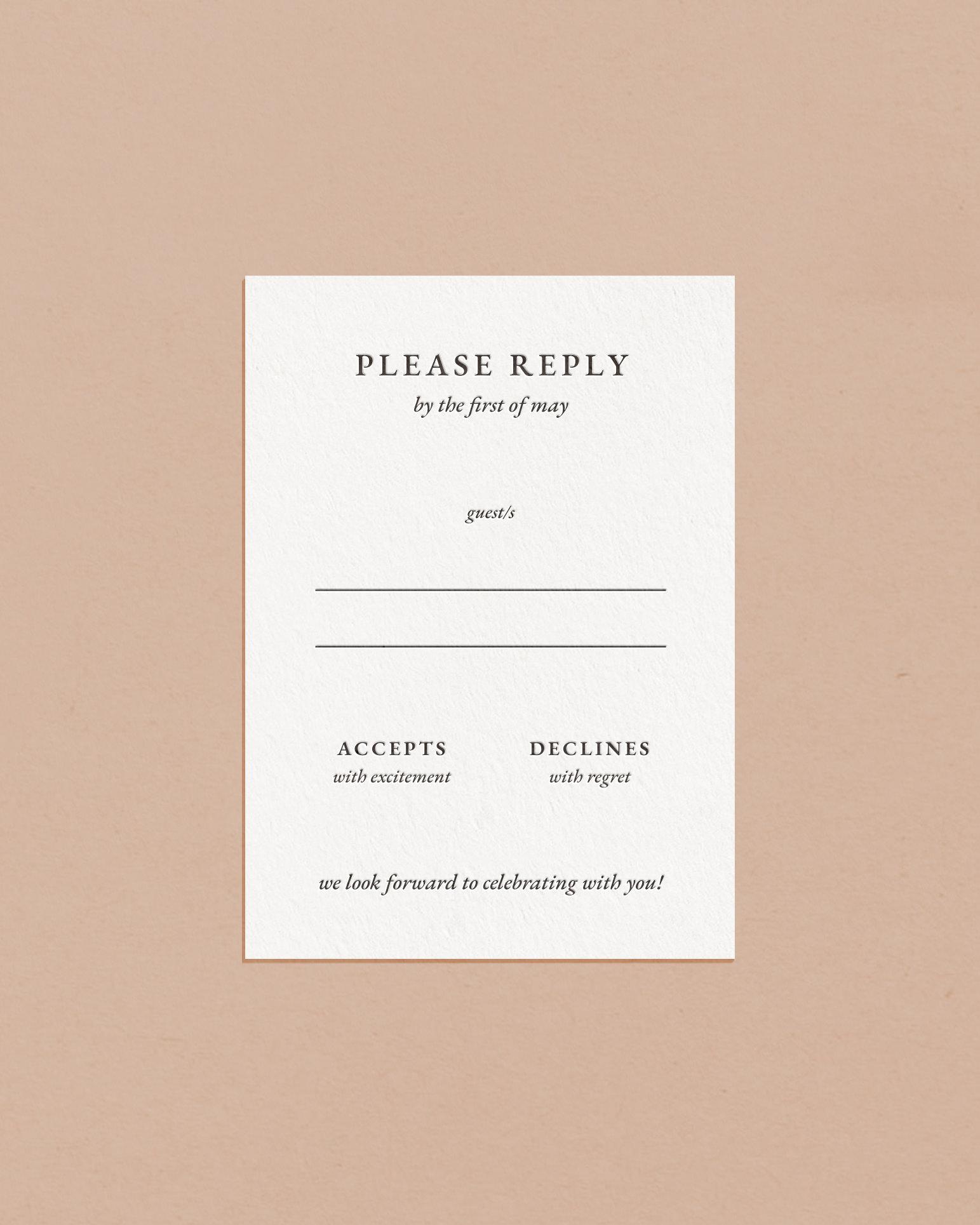 Classic Letterpress & Foil Wedding Reply RSVP Card
