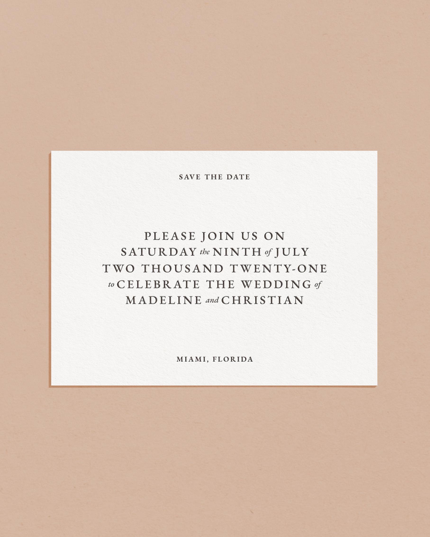 Classic Letterpress & Foil Wedding Save The Date Card
