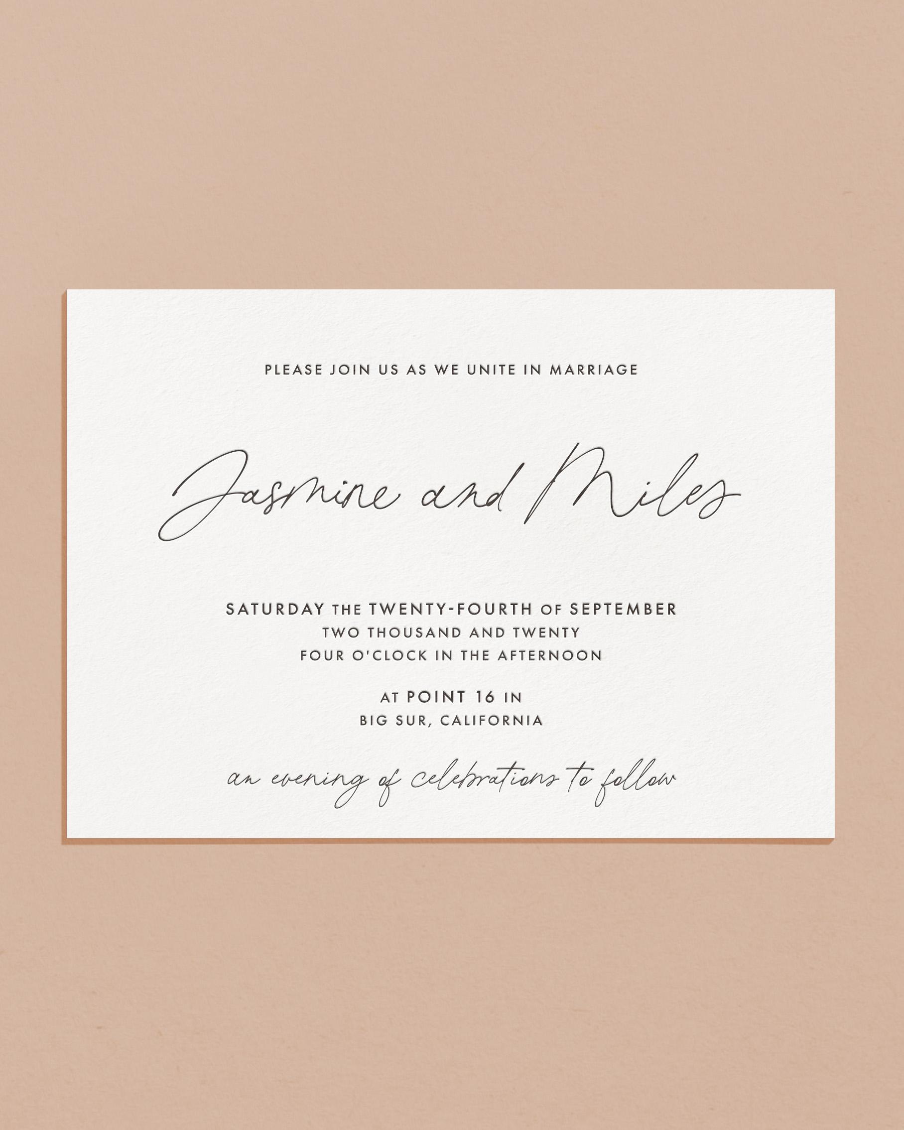 Delicate Letterpress & Foil Wedding Invitation Card