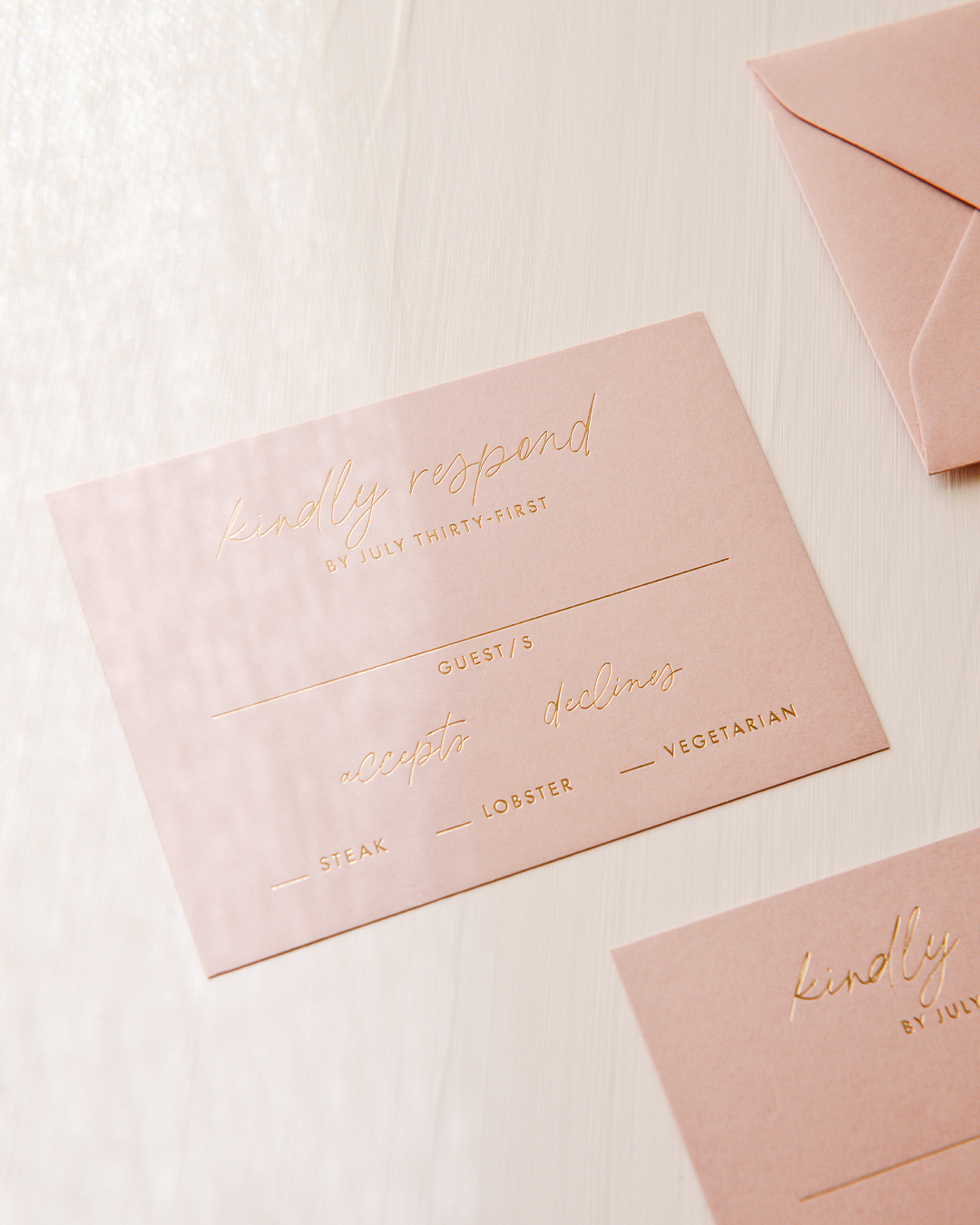 Romantic Dusty Rose Rose-Gold Foil Wedding Reply RSVP Card