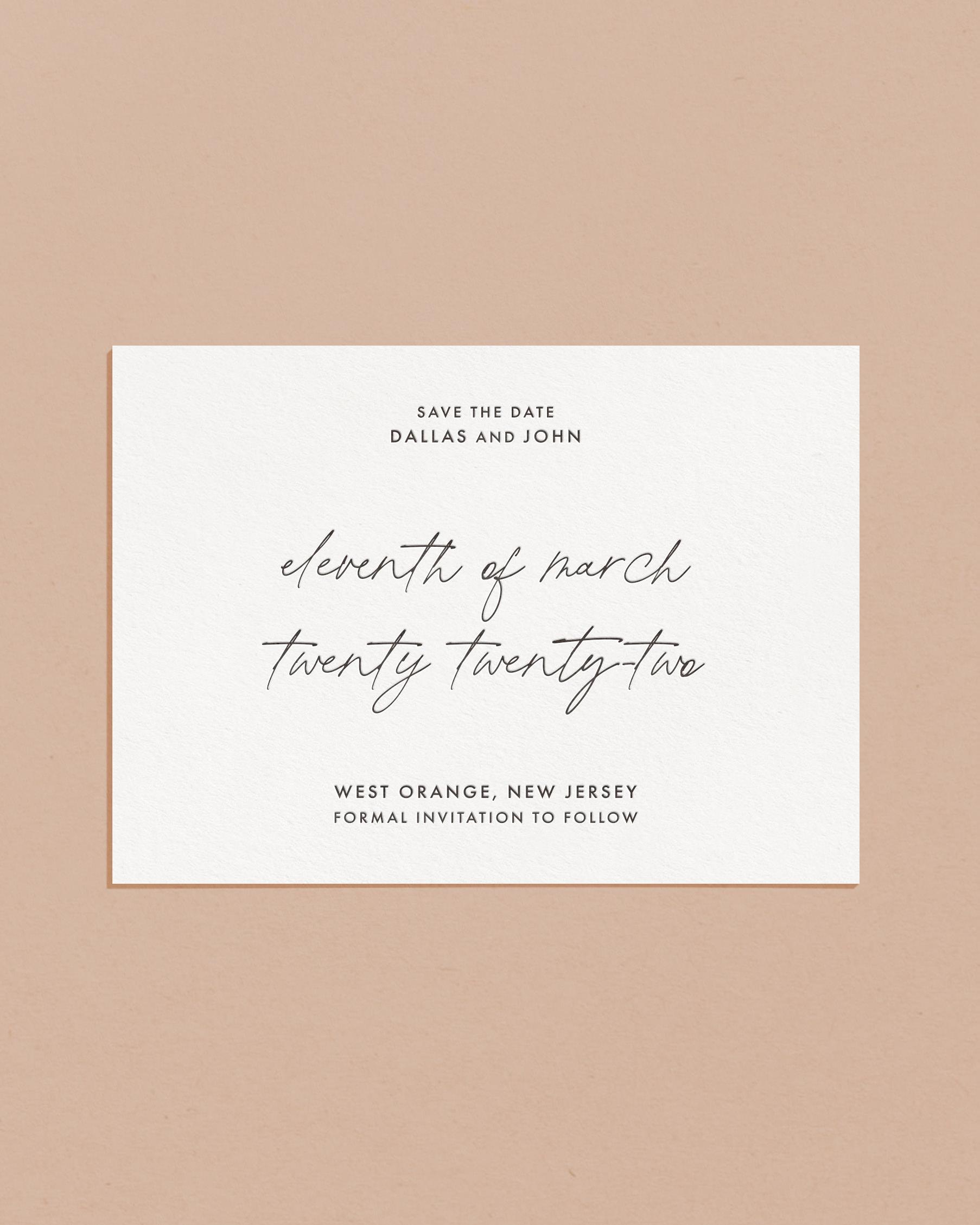Delicate Letterpress & Foil Wedding Save The Date Card