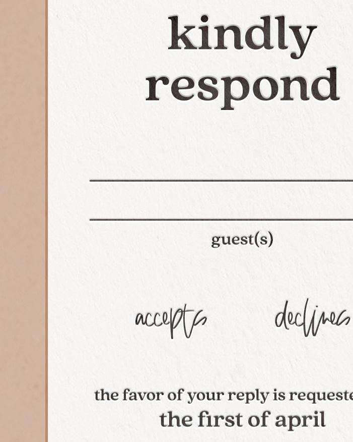 Elegant Letterpress & Foil Wedding Reply RSVP Card Detail