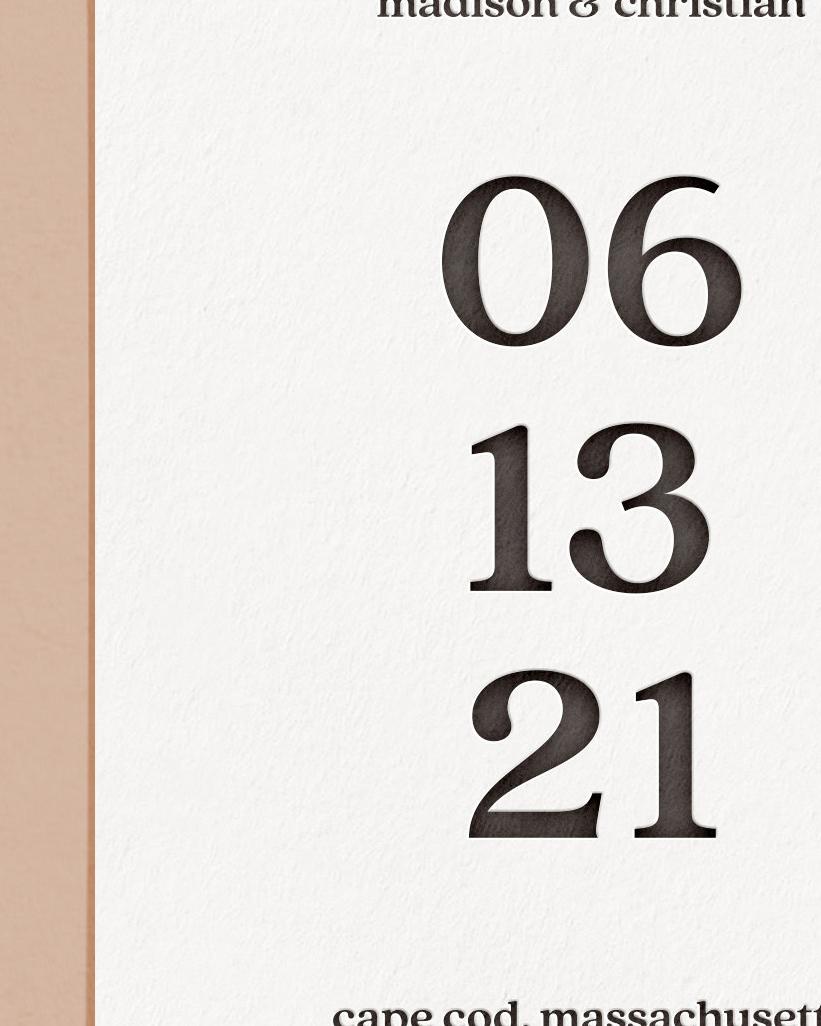 Elegant Letterpress & Foil Wedding Save The Date Card Detail