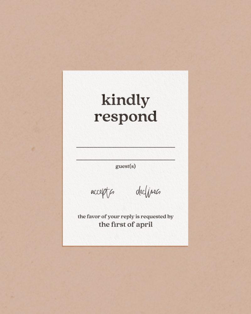 Elegant Letterpress & Foil Wedding Reply RSVP Card