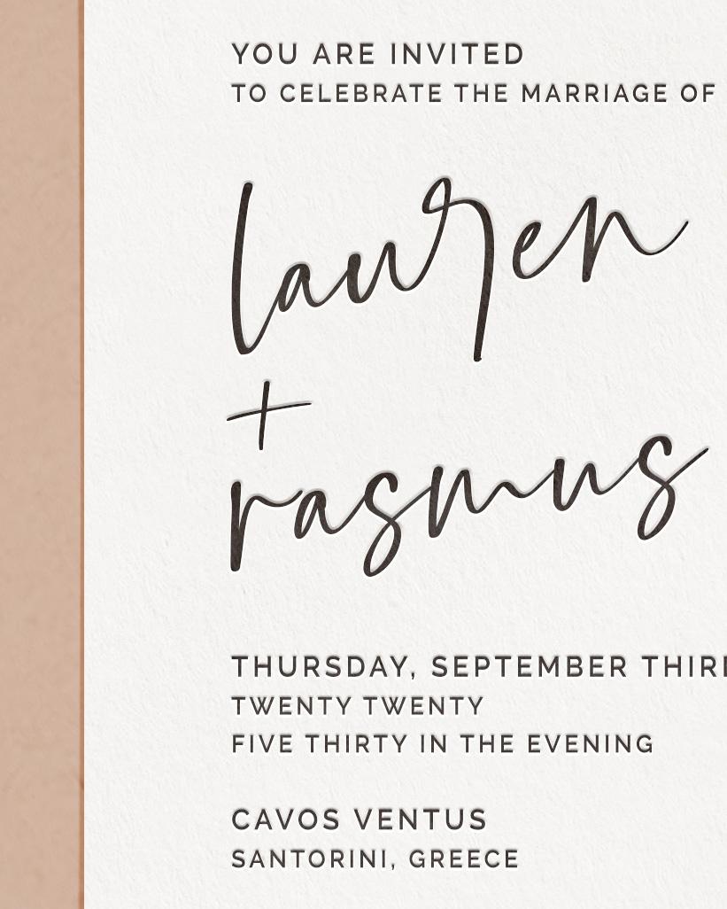 Luxury Letterpress & Foil Wedding Invite Card Detail