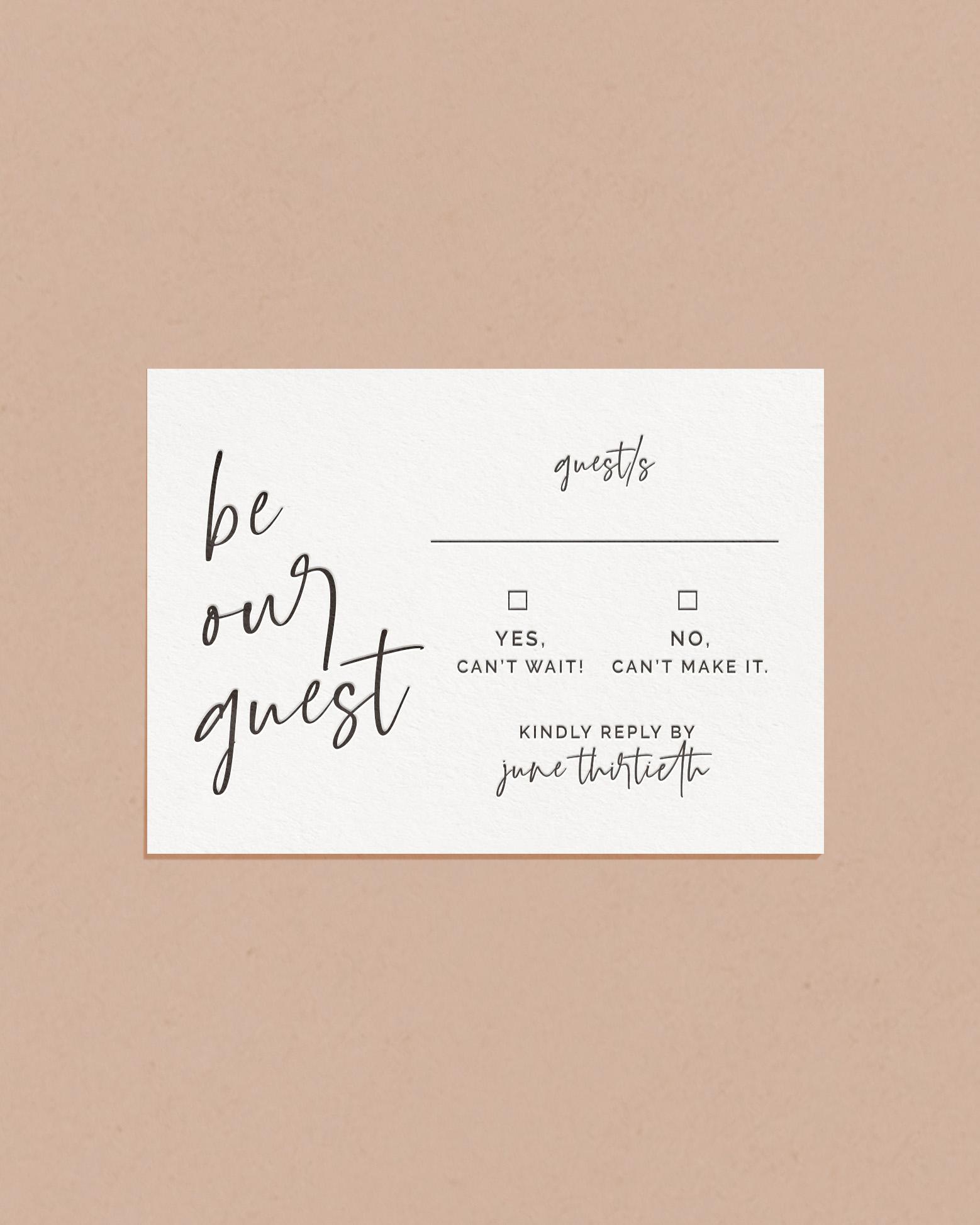 Luxury Letterpress & Foil Wedding Reply RSVP Card