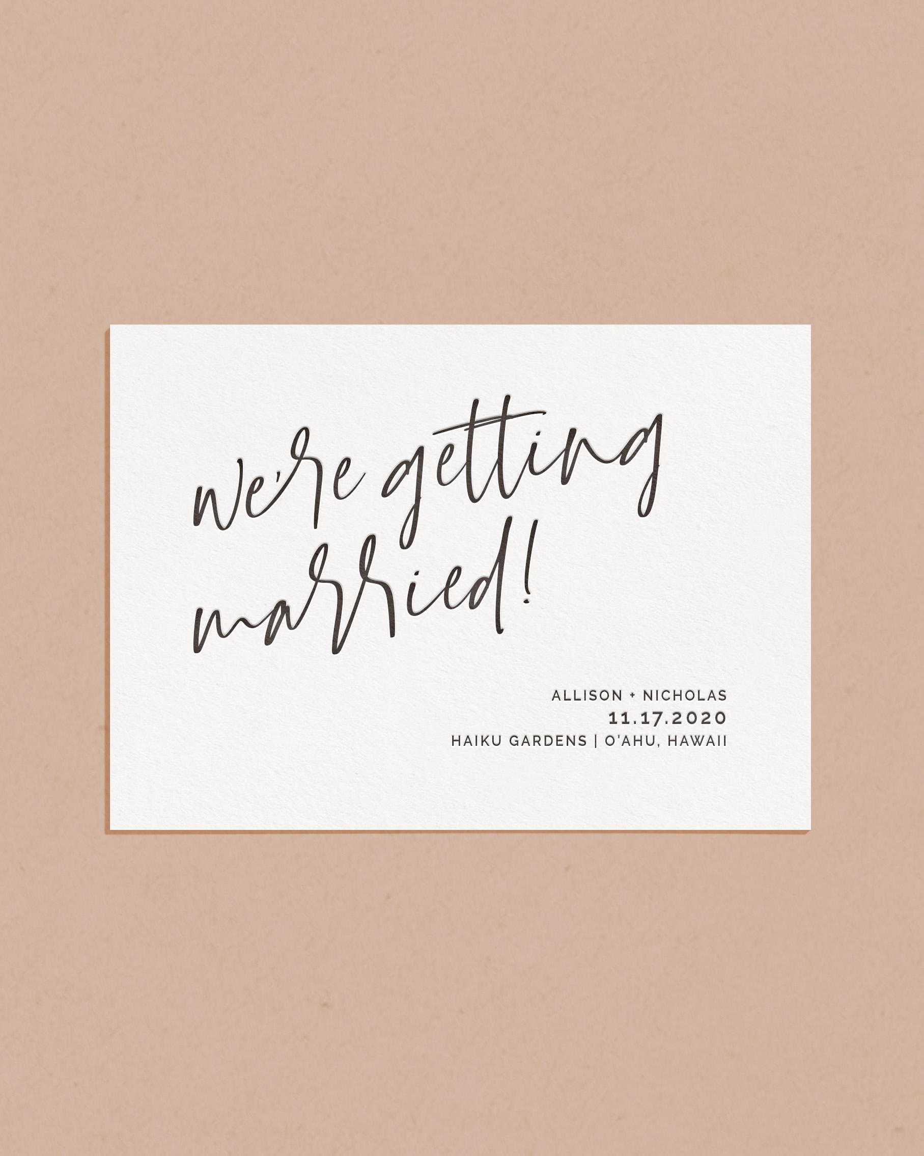 Luxury Letterpress & Foil Wedding Save The Date Card