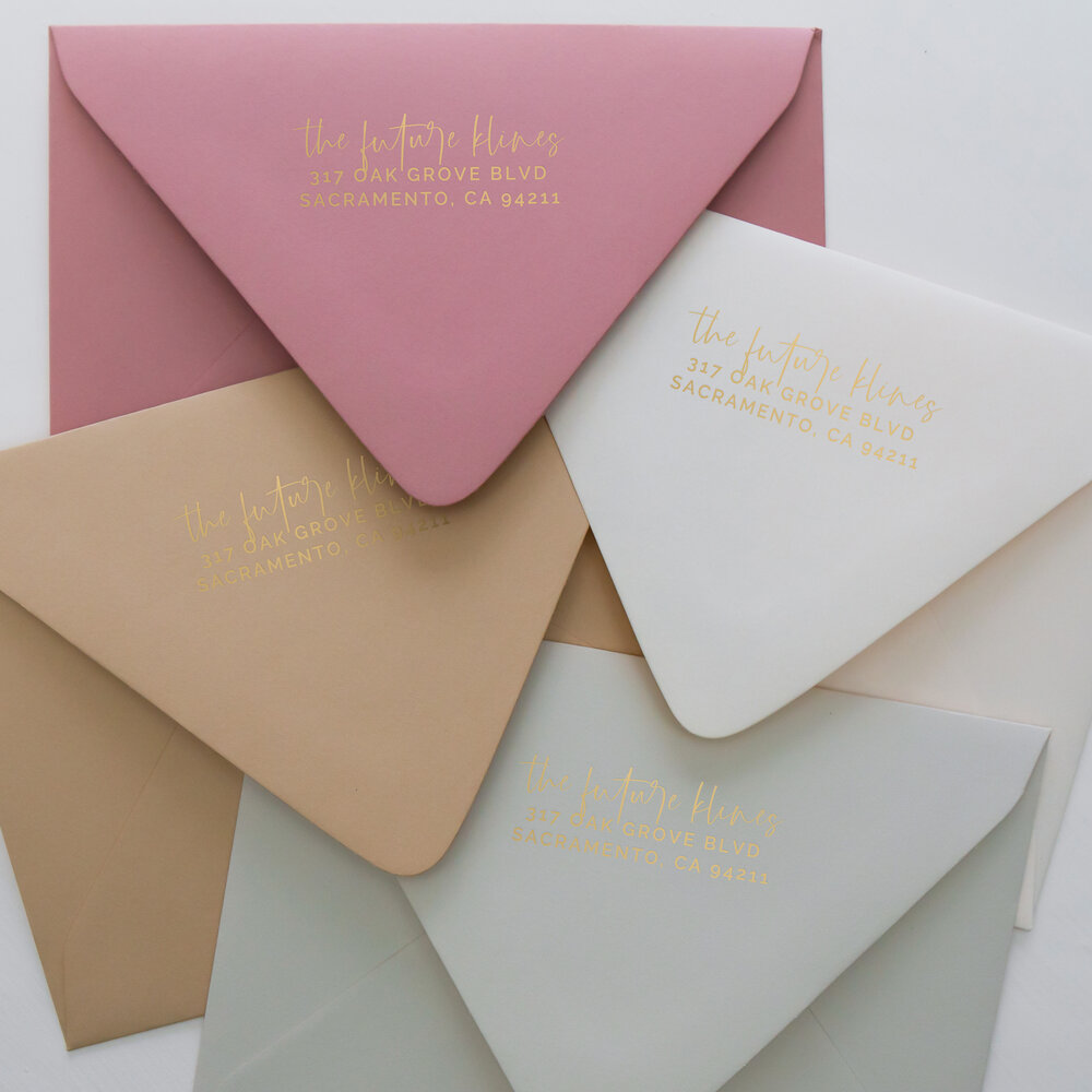 Wedding Envelopes with Gold Foiling