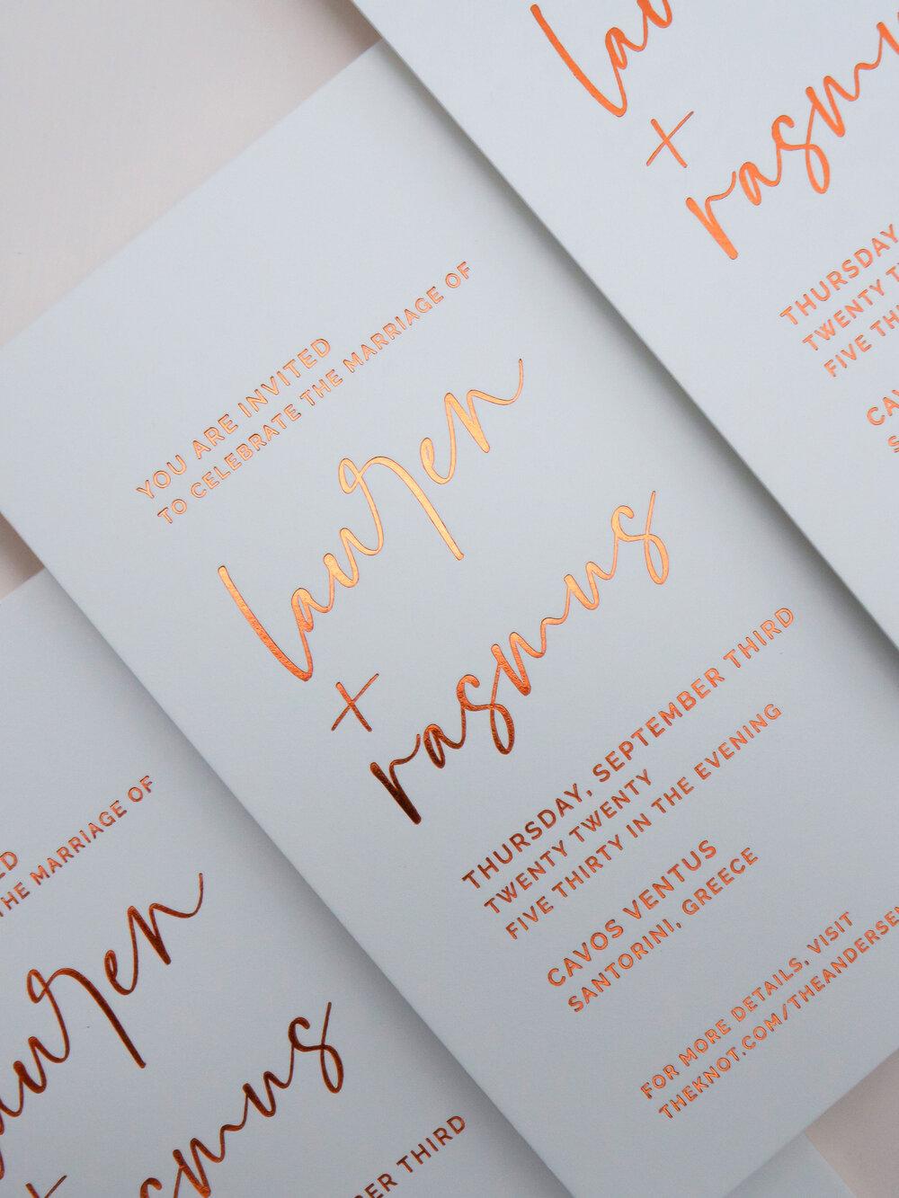 Rose Gold Foil Printing on Wedding Invitations