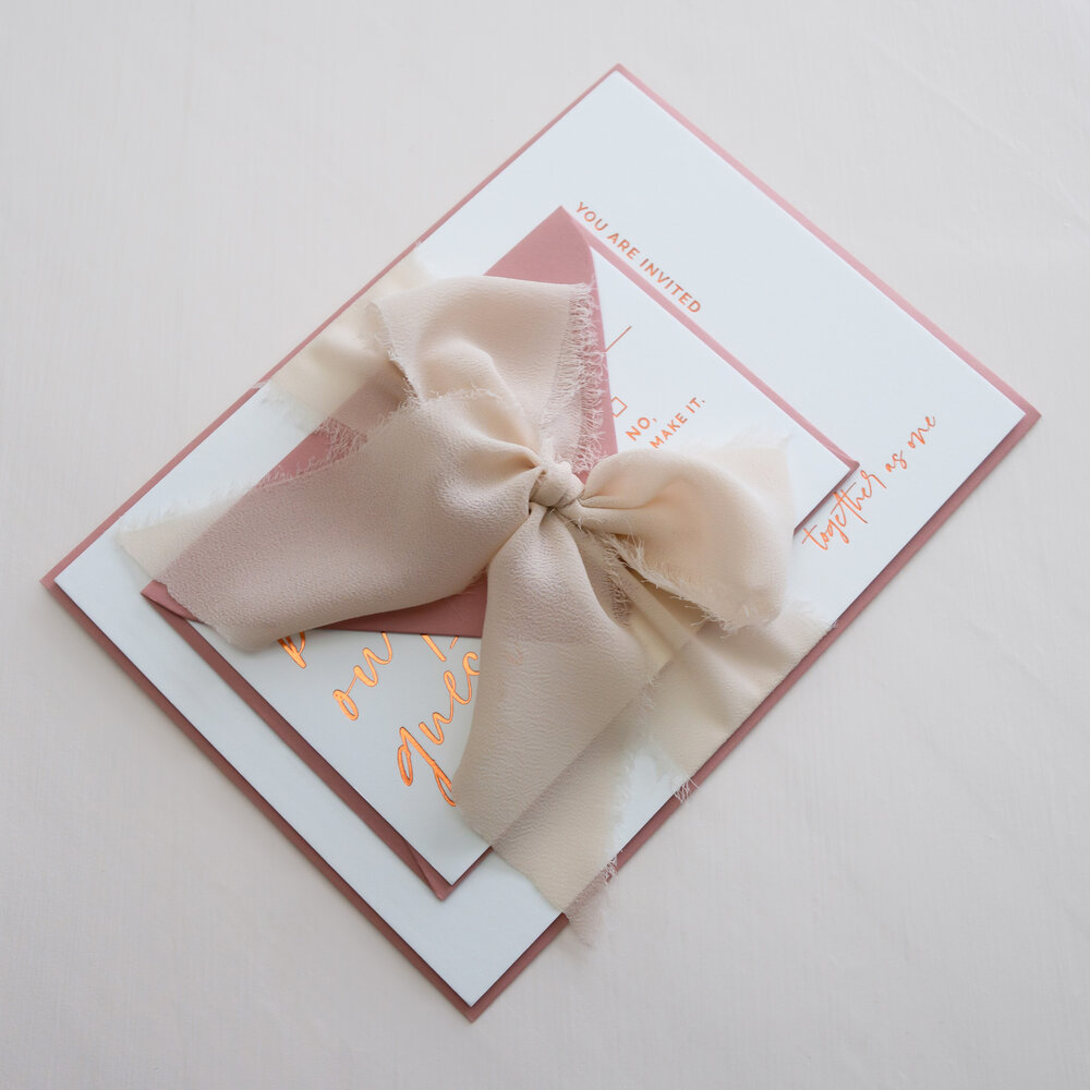 Ribbon and Embellishment Details for Wedding Stationery