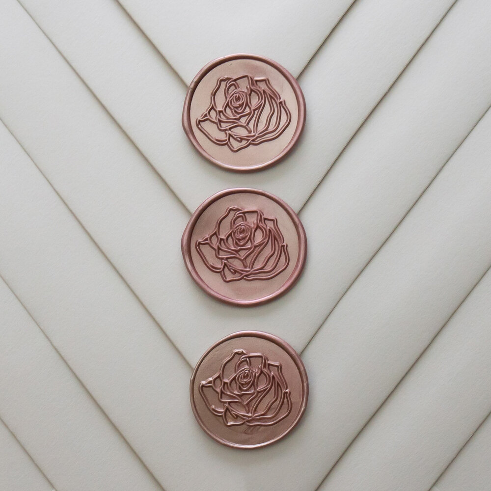 Rose Gold Wax Seals for Wedding Invitations