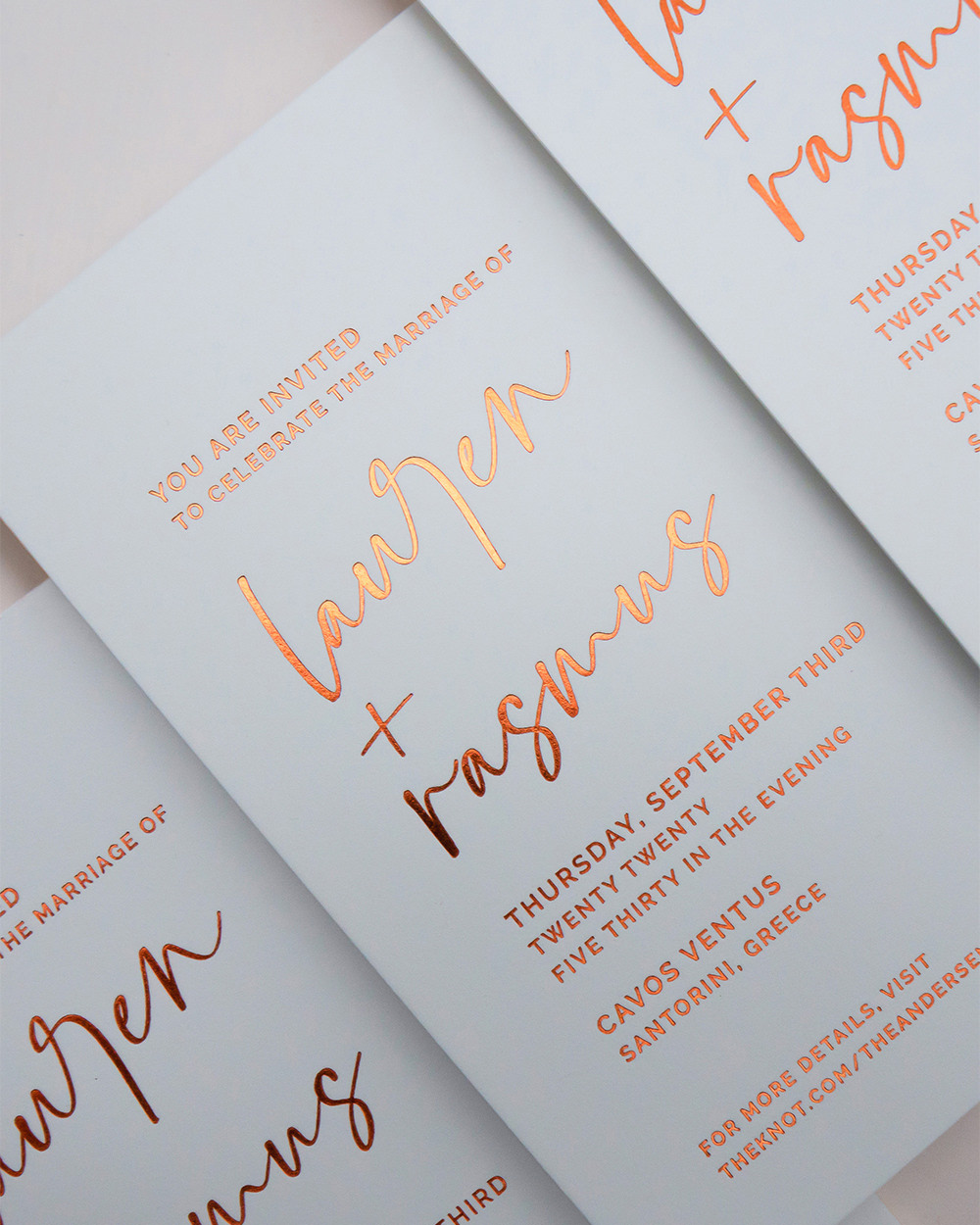 Luxe Copper Gold Foil Printing on Wedding Invitations