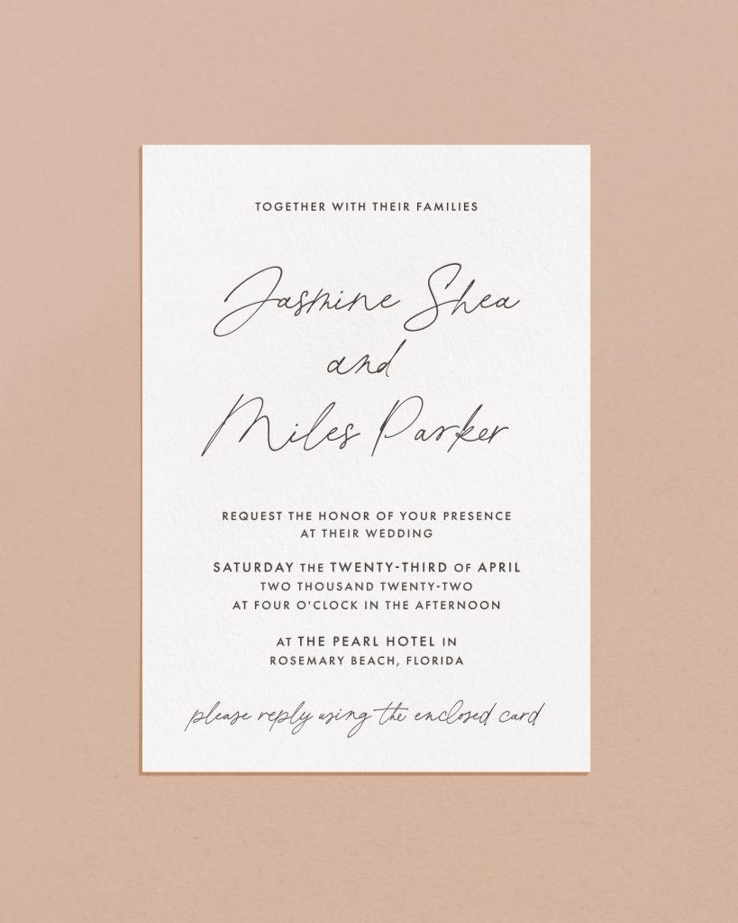 PaperCrush Delicate Script Wedding Invite Card Design