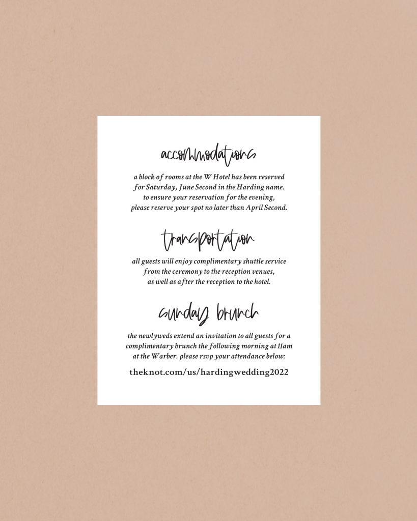 PaperCrush Chic Wedding Itinerary Card Design