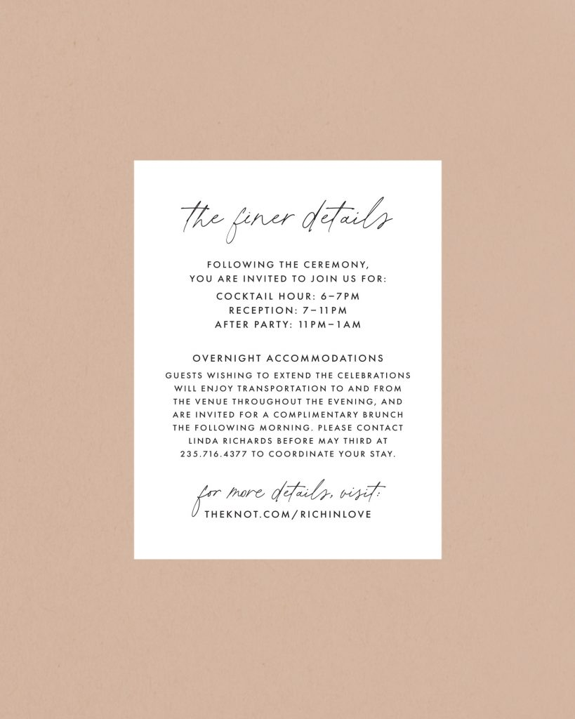 PaperCrush Delicate Wedding Itinerary Card Design